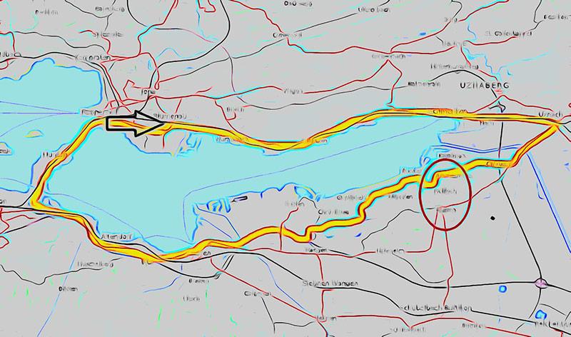 Wanderroute Obersee. Von Rapperswil über Uznach auf der anderen Seeseite wieder nach Rapperswil ins Kloster zurück.