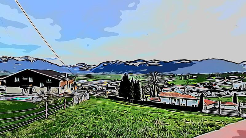 Am Fusse des Hügels Buchberg, Blick nach Tuggen.